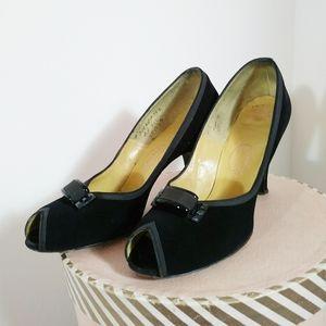 Vintage 40s 50s black suede peep toe heels pumps